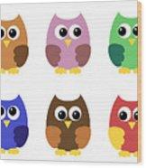 Set Of Six Little Owlets Wood Print