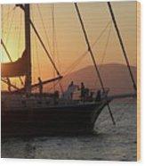 Set Sail On The Aegean At Sunset Wood Print