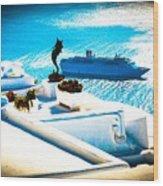 Set Sail Santorini Wood Print