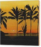 Setting Sun In The Tropics Wood Print