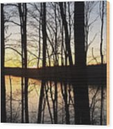 Setting Sun On Monroe Lake Bloomington Indiana Wood Print