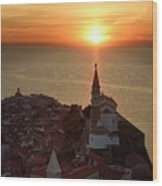 Setting Sun On The Adriatic Sea Behind Archangel Michael On Top  Wood Print