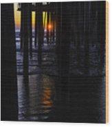 Setting Sun Pismo Beach Wood Print