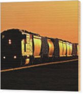 Setting Sun Reflecting Off Train And Track Wood Print