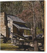 Settlers Cabin Cades Cove Wood Print