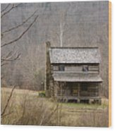 Settlers Cabin In Cades Cove Wood Print