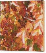 Seurat-like Fall Leaves Wood Print