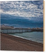 Seven Am On Brighton Seafront Wood Print
