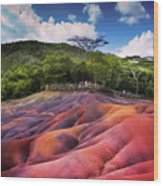 Seven Colored Earth In Chamarel. Mauritius Wood Print