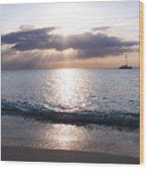 Seven Mile Beach Catamaran Sunset Grand Cayman Island Caribbean Wood Print by Shawn O'Brien