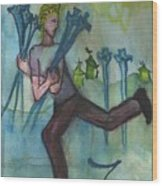 Seven Of Swords Illustrated Wood Print