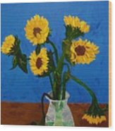 Seven Sunflowers In Vase Wood Print