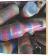 Seventies Bottles Wood Print