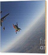 Several Military Freefall Parachutist Wood Print