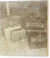 Several Vintage Bags On Floor Wood Print