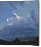 Severe Weather And Waxing Crescent Moon Wood Print