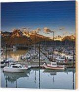 Seward Alaska Boat Marina Wood Print