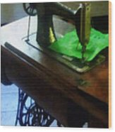 Sewing Machine With Green Cloth Wood Print