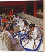 Sewing Tapestries Wood Print