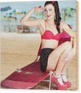 Sexy Beach Pin Up Girl Wearing High Heels Wood Print