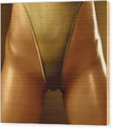 Sexy Covered With Gold Woman In High Cut Swimsuit Wood Print