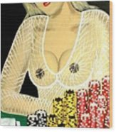 Sexy Poker Girl Wood Print