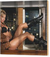 Sexy Woman In Lingerie Sitting On A Window Sill Wood Print