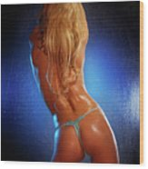 Sexy Young Woman Back Wood Print