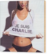 Sexy Young Woman In Wet Je Suis Charlie Shirt Charlie Riina Wood Print