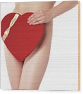 Sexy Young Woman With A Valentine Gift Wood Print