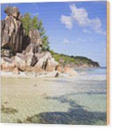Seychelles Rocks Wood Print