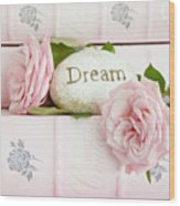 Shabby Chic Cottage Pink Roses On Pink Books - Romantic Inspirational Dream Roses  Wood Print