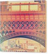 Shabby Chic Eiffel Tower Paris Wood Print