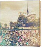 Shabby Chic Love Locks Near Notre Dame Paris Wood Print