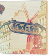 Shabby Chic Moulin Rouge Metro Sign Paris Wood Print