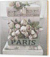 Paris Shabby Chic Pastel Paris Books Roses - Paris Shabby Cottage Watercolor Roses Wood Print