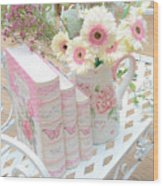 Shabby Chic Pink And Yellow Gerber Daisies Floral Art - Spring Cottage Daisies Floral Art Wood Print