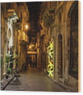 Shabby Chic - Small Street Night Walk In Syracuse Sicily Wood Print