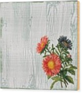 Shabby Chic Wildflowers On Wood Wood Print