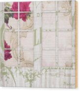 Shabby Cottage French Doors Wood Print