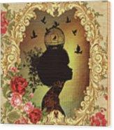 Shabby Fae Silhouette  Golden Wood Print