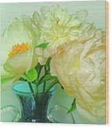 Beautiful Peony Flowers  In Blue Vase. Wood Print