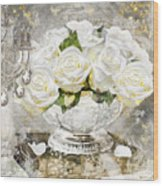 Shabby White Roses With Gold Glitter Wood Print
