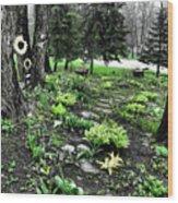 Shade Garden Wood Print