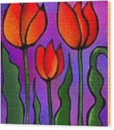 Shades Of Tulips Wood Print
