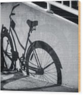 Shadow Of A Bike At Carolina Beach Wood Print