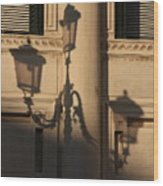 Shadow Of A Lamp Post In Venice Wood Print