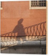 Shadow Of A Person Crossing The Shadow Of A Bridge In Venice Wood Print