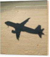 Shadow Of Airplane Flying Into Land Wood Print