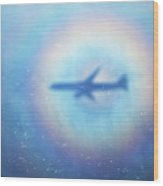 Shadow Of An Aeroplane Surrounded By A Rainbow Halo Wood Print